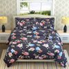 kritarth Handicrafts Kritarth Handicrafts Blue Color Floral Print Queen Size Double Bed Bedsheets with 2 Frill Pillow Covers and 2 Rectangular Frill Cushion | Size-90x100 inch